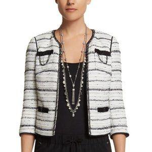WHBM Black &White Tweed Embellished Jacket